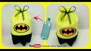 Lembrancinha fácil de GARRAFA PET – Batman – Faça você mesmo – Sacolinha Surpresa