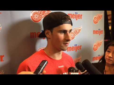 Red Wings' Dylan Larkin describes his two goals