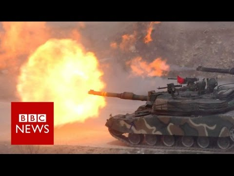 US and South Korea hold live-fire drill - BBC News