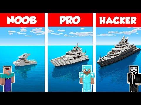 Minecraft NOOB Vs PRO Vs HACKER: MODERN YACHT HOUSE BUILD CHALLENGE In Minecraft / Animation