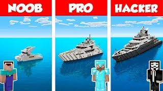 Minecraft NOOB vs PRO vs HACKER: MODERN YACHT HOUSE BUILD CHALLENGE in Minecraft / Animation