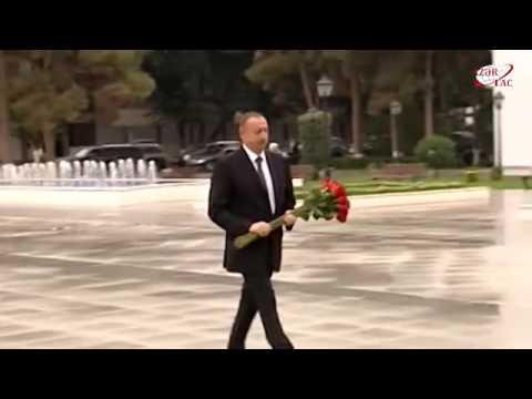 President Ilham Aliyev visited statue of national leader Heydar Aliyev in Sabirabad