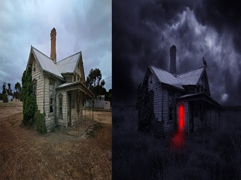 Photoshop Tutorial - Making Wooden Ghost's House Scene