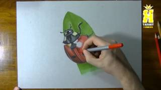 Марцелло Баренчи рисует божью коровку. Фотореализм