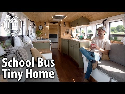 School Bus Conversion Becomes His Off Grid Travel Home