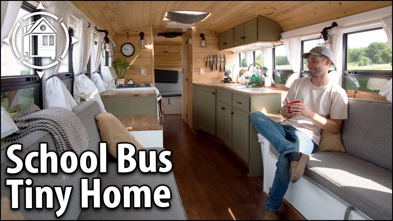 School Bus Conversion Becomes His Off Grid Travel Home Youtube