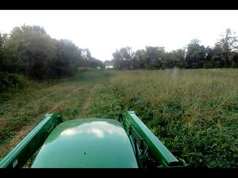 John Deere 7600 cutting hay with a Krone 283S