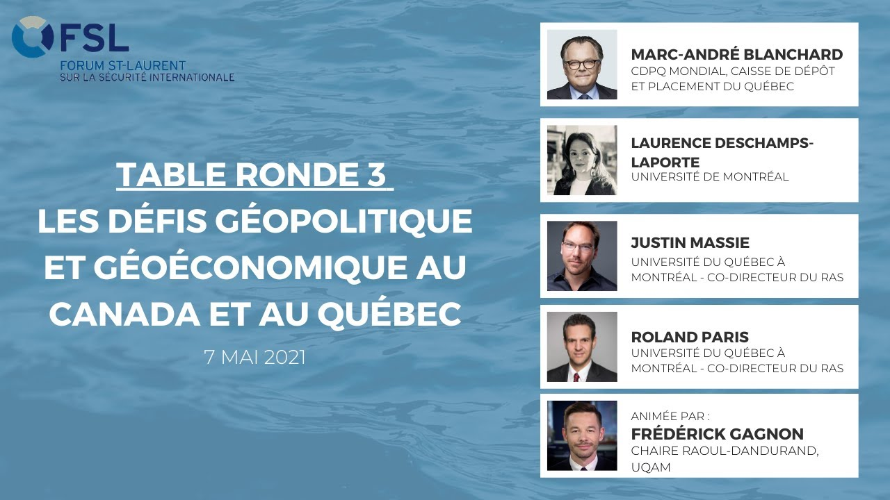 Les défis géopolitique et géoéconomique au Canada et au Québec
