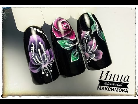 Цветы на черном фоне маникюр