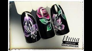 🌸 НЕЖНЫЕ цветы на ЧЕРНОМ фоне 🌸 FIORE 🌸 ПРОСТОЙ дизайн ногтей гель лаком 🌸