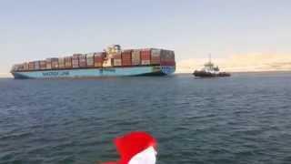 لحظة خروج السفينة الثانية من قناة السويس الجديدة بعد عبورها بها 25يوليو2015
