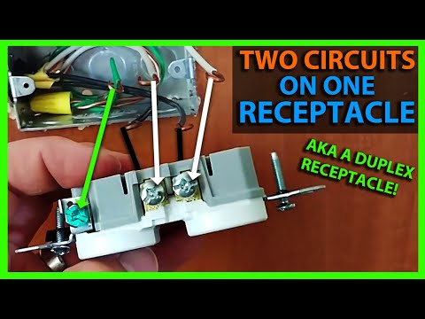 how to split wire an outlet or receptacle - two circuits on one outlet  (duplex receptacle) - youtube