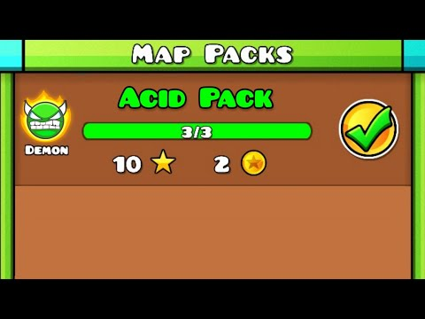 ACID PACK | Geometry Dash (Demon , Acid Rush 1~3 / Demon Map Pack) [All Clear / All Coins]