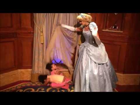 Cute Little Girls Meet Cinderella at Disney World - Play Hide & Seek