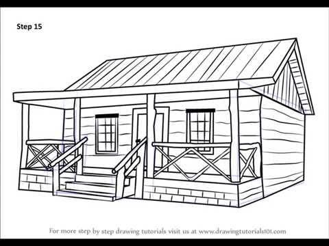 كيفية رسم كوخ الخشب Youtube