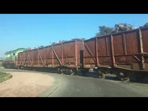 Scrap transporting train in Durres, Albania