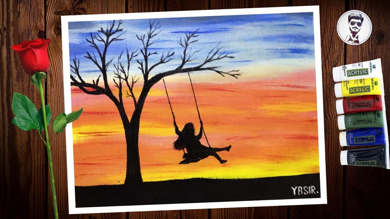 How To Paint Easy Sunset With A Girl On Swing Acrylic Sunset Painting Alone Girl Painting