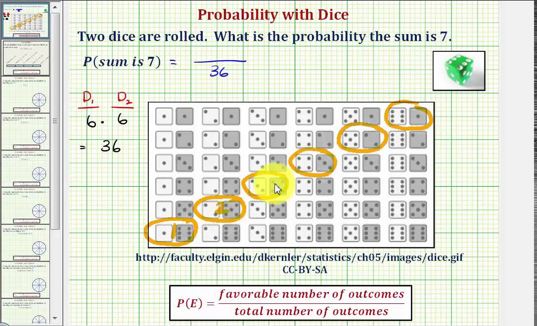 Ex Find the Probability of a Sum of 7 Using Two Dice - YouTube