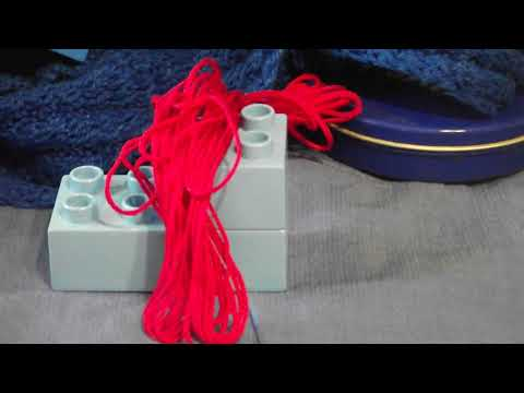 Composition with Red and Blue: Yarn and Blocks