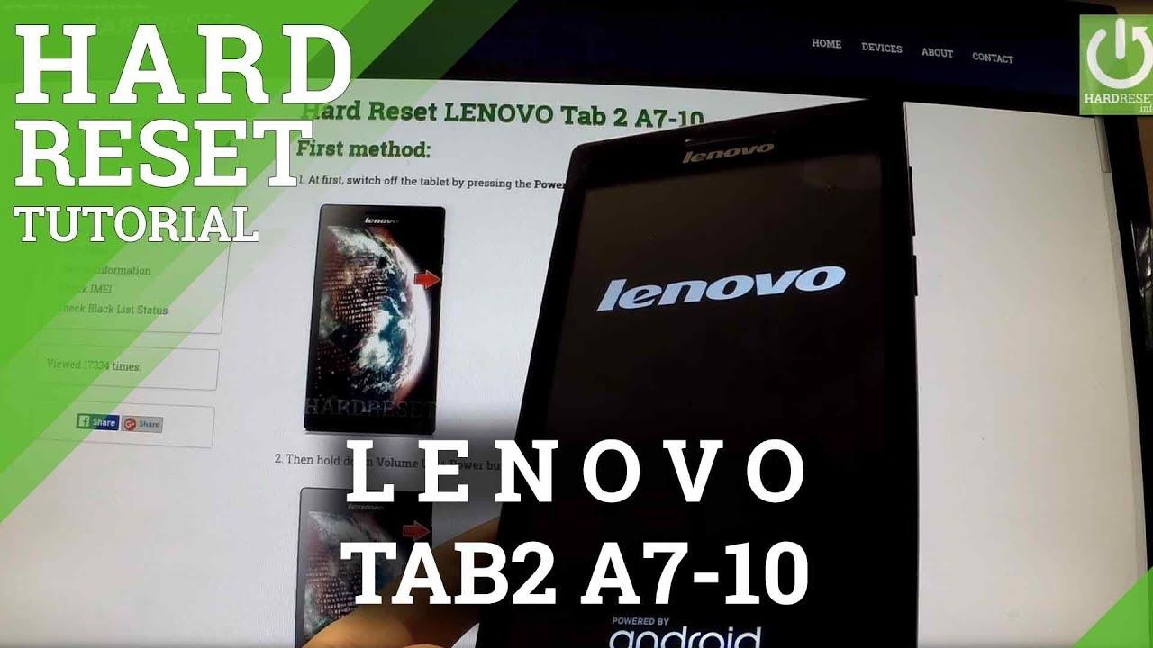 Hard Reset LENOVO Tab 2 A7-10 - HardReset info