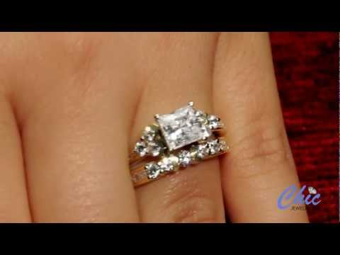 Cubic Zirconia Princess Cut Center Stone Engagement Ring