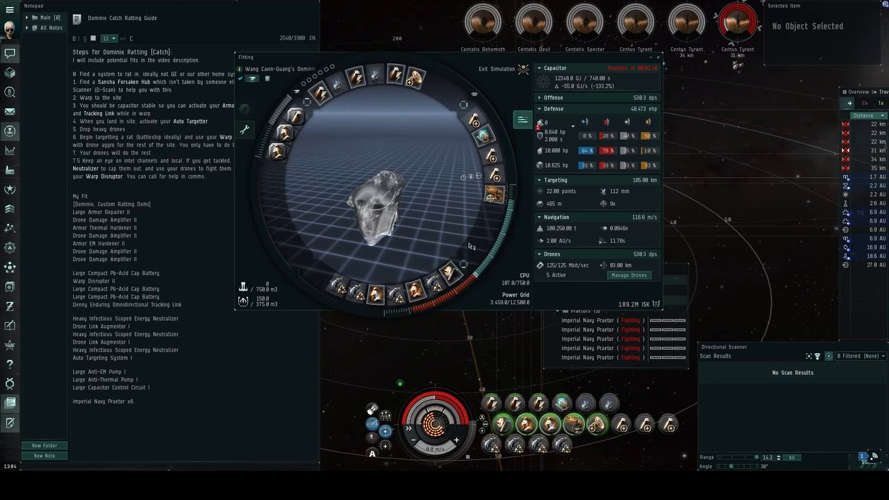 Making isk in Eve Online - Dominix Ratting - Wang Cavin-Guang - April 2019