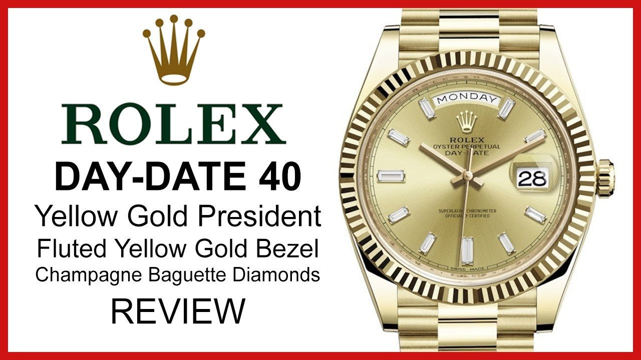 53e1c2899e6 Rolex Day-Date 40, Champagne Diamond Dial, Fluted Yellow Gold Bezel,  President - REVIEW 228238