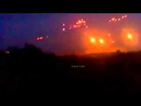 War in Ukraine. Night battle near Donetsk city. Eastern Ukraine