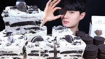 투썸플레이스 아이스박스 케이크 오레오 먹방ASMR MUKBANG CHOCOLATE ICE CREAM & OREO CAKE オレオチョコアイスクリームケーキ eating sounds
