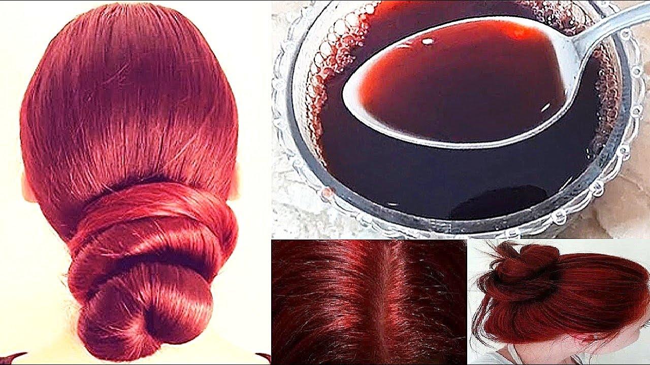 Como pasar de cabello negro a rojizo sin decolorar y colorea tus canas! modo natural y casero!🔴👍