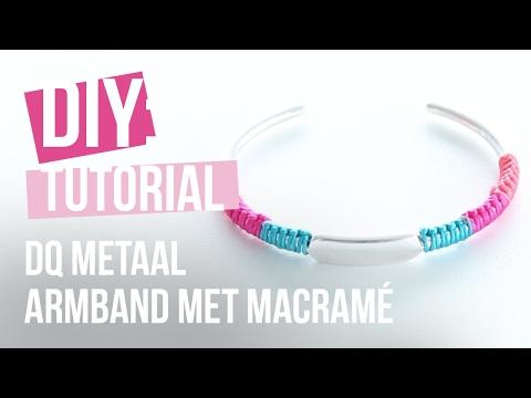 Sieraden maken: DQ metalen armband met Macramé draad ♡ DIY