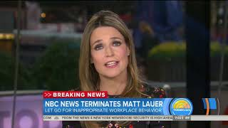 """MATT LAUER FIRED FROM NBC AFTER SEXUAL MISCONDUCT ALLEGATIONS: """"WE ARE HEARTBROKEN"""""""