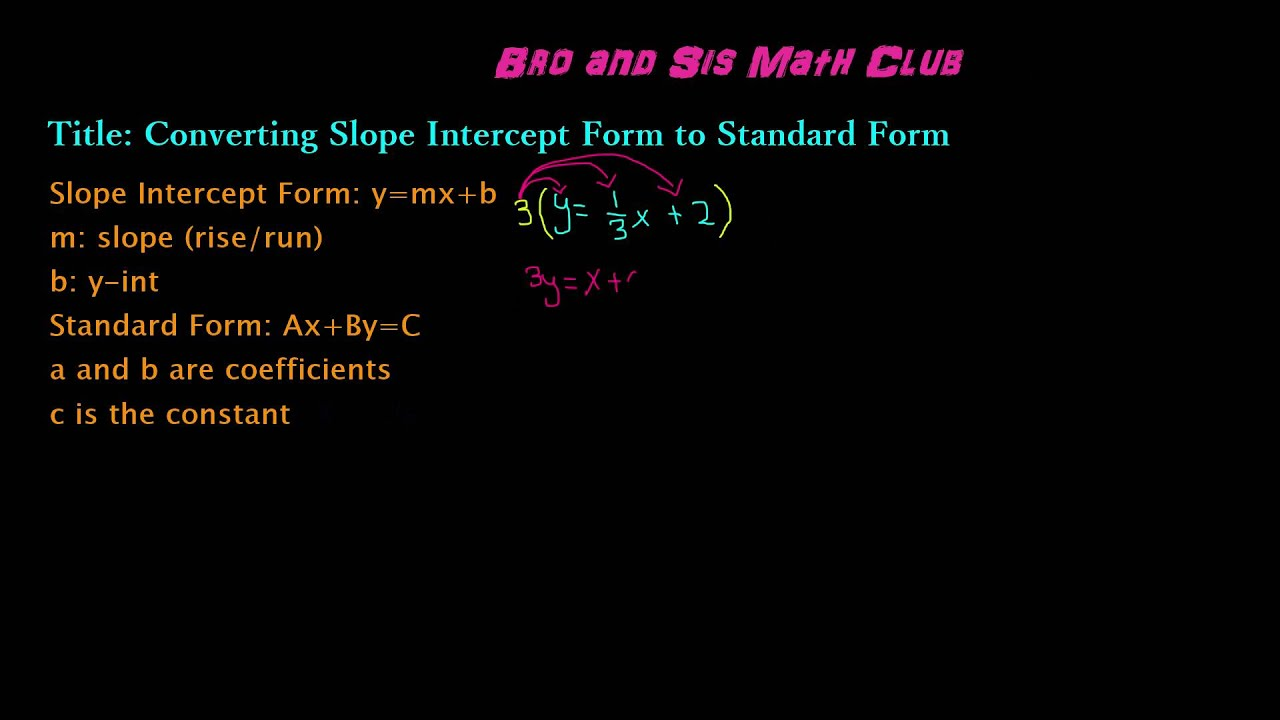 Converting slope intercept form to standard form algebra i youtube converting slope intercept form to standard form algebra i falaconquin
