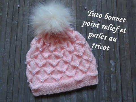 TUTO BONNET RELIEF ET PERLE AU TRICOT 3D with beads hat ...