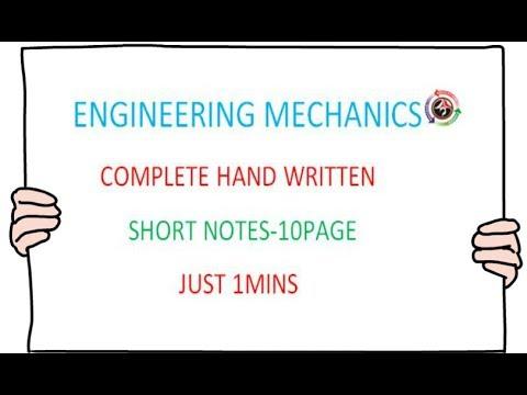 ENGINEERING MECHANICS  EM SHORT NOTES   GATE,PSU,ISRO,TRB