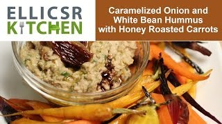 Caramelized Onion And White Bean Hummus With Honey Roasted Carrots
