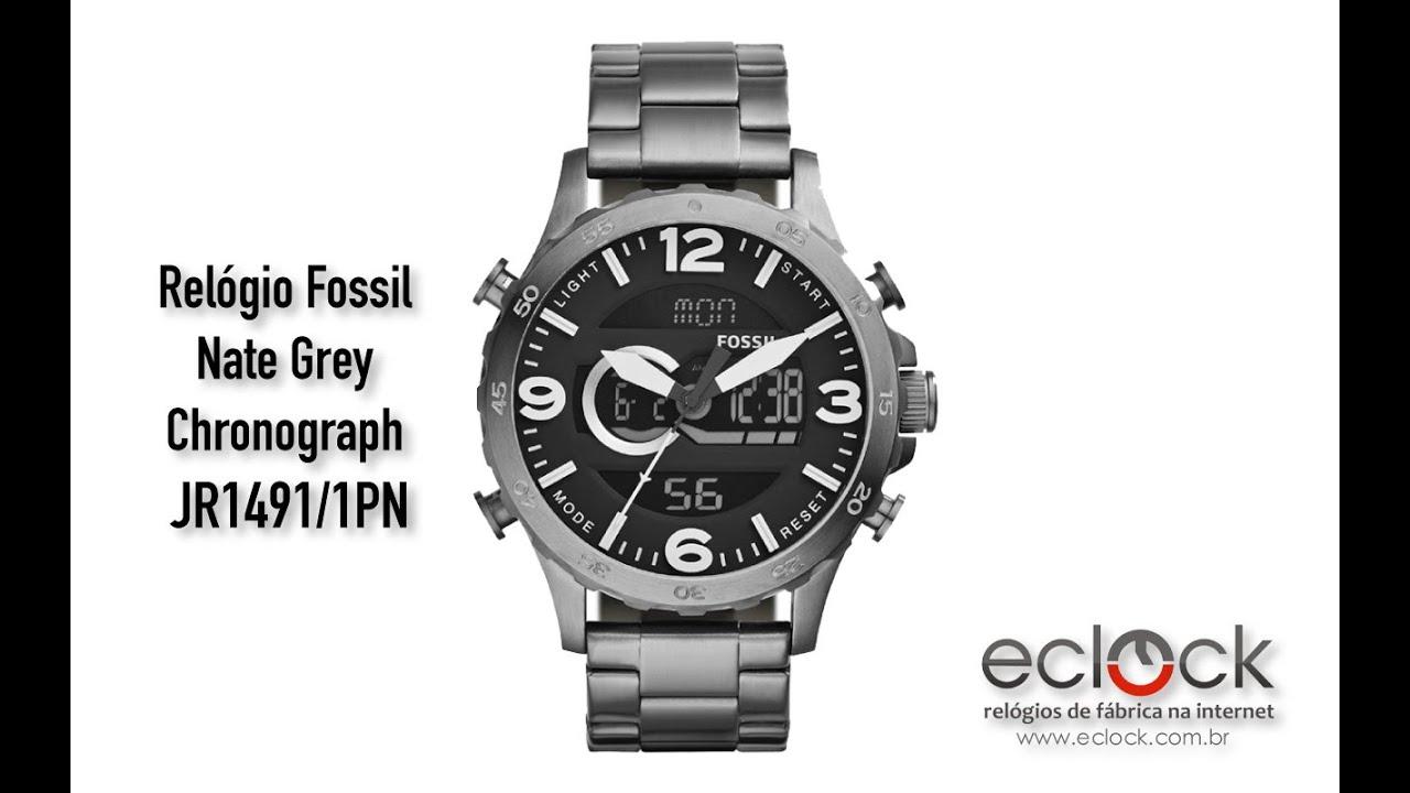 124b65f6754478 Relógio Fossil Masculino Nate Grey Chronograph JR1491/1PN - Eclock ...