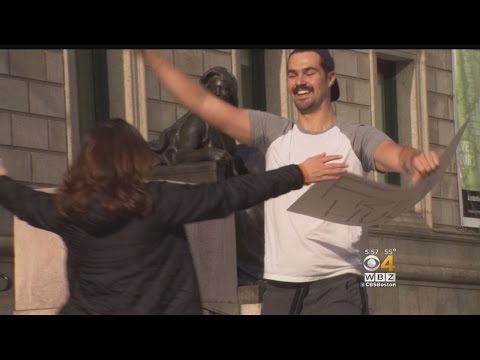 Man Offers Free Hugs In Copley Square