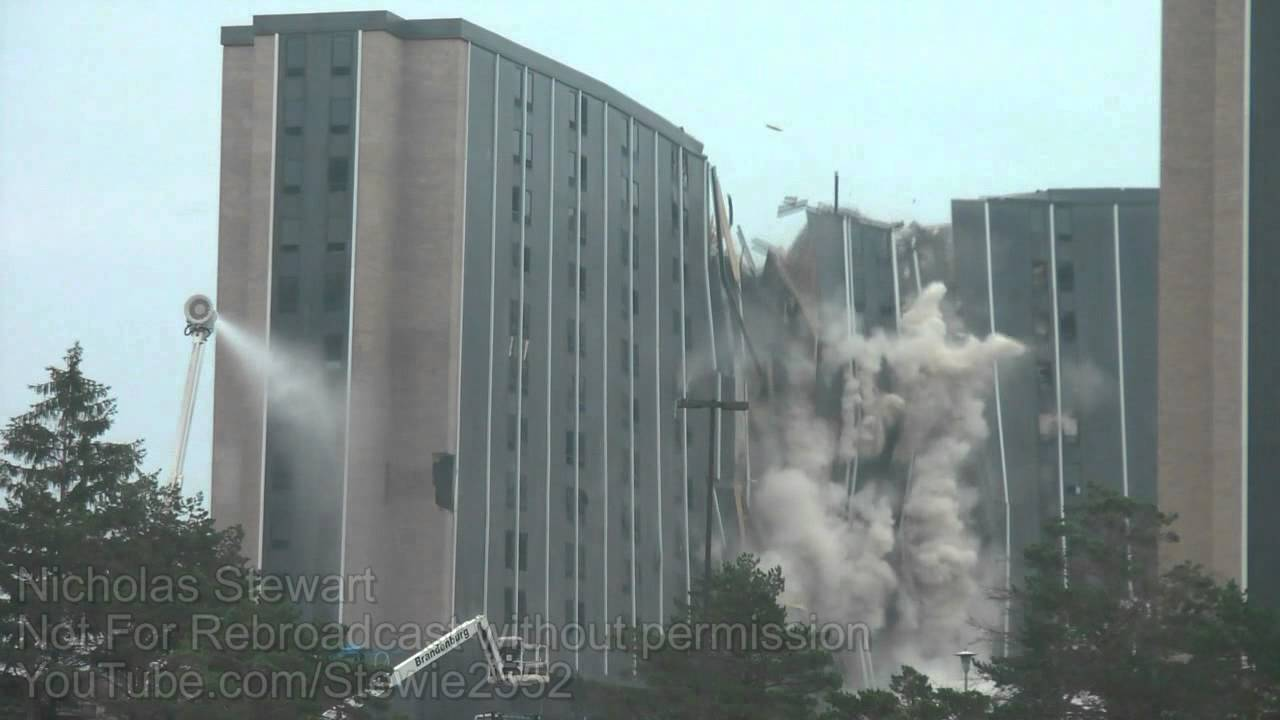 Wetzel Hall Implosion  Western Illinois University Dorm Part 57