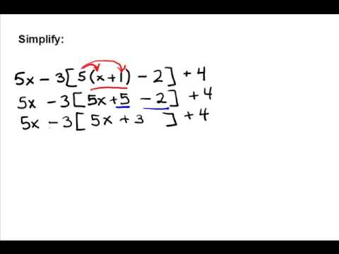 Simplifying With Nested Grouping Symbols Youtube