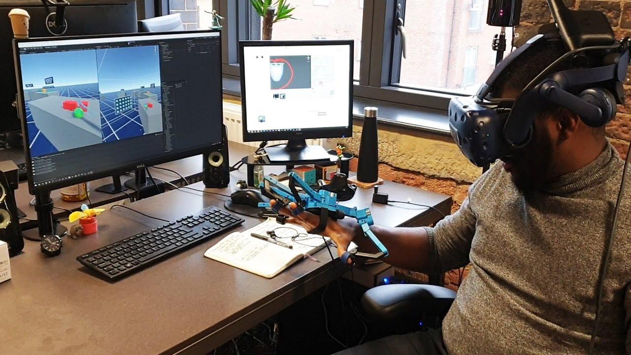 VR Haptic Glove Demonstration - Senseglove Tactile Feedback - YouTube