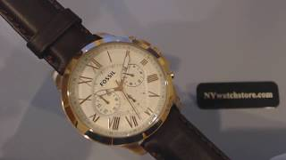 Men's Fossil Grant Chronograph Leather Strap Watch FS4991