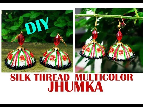 Silk Thread Multicolor Jhumka/How To Make At Home/Parna's Beauty World