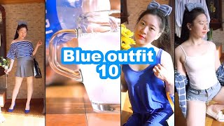 SUB)포카리스웨트 쏟아부은 청량감~파란색옷 코디 룩북…