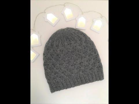Вязаные мужские шапки с помпоном спицами со схемами