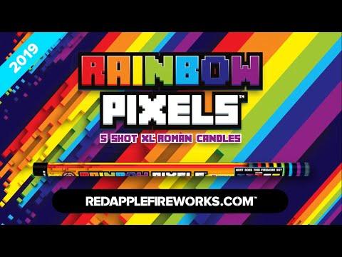 Red Apple Rainbow Pixels 5 Shots XL Roman Candles R 7402
