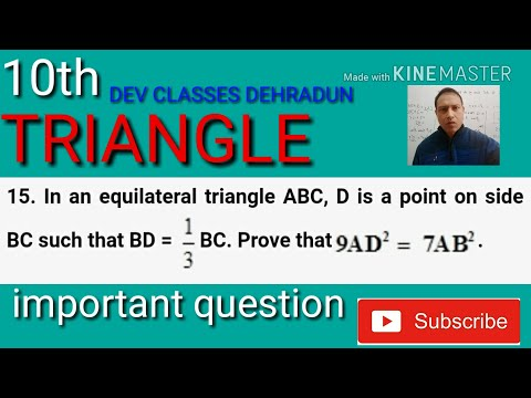 IN AN EQUILATERAL TRIANGLE ABC , D IS A POINT ON THE SIDE BC SUCH THAT BD = 1/3 BC