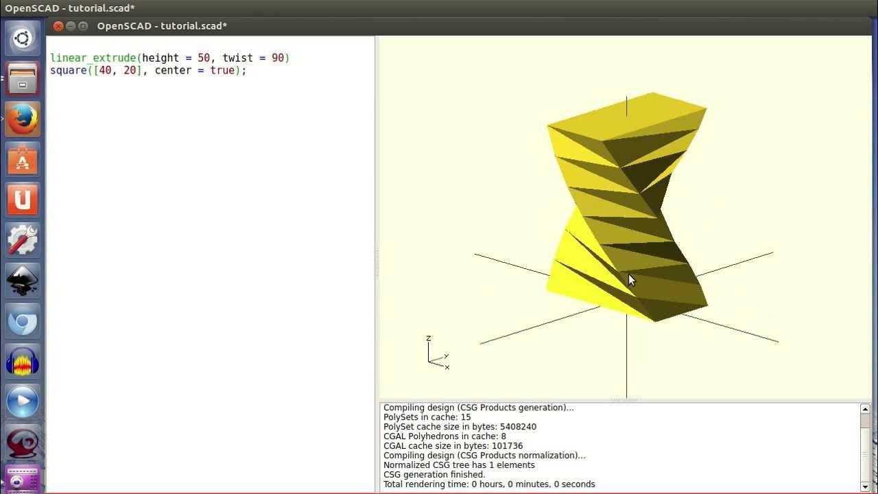 Tutorial openscad 2: Extrusión lineal con torsión (19/28)
