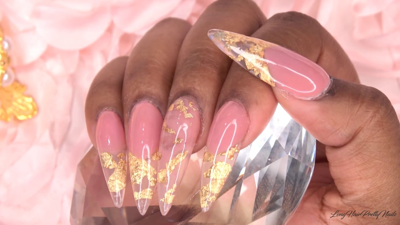Gold Leaf Pink Nude Acrylic Nails | LongHairPrettyNails