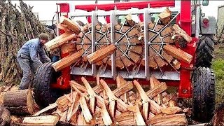 Extreme Fastest Automatic Firewood Processing Machine, Amazing Modern Wood Splitting Machine